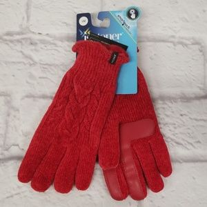 Isotoner Red Womens Gloves Knit Smart Touchscreen